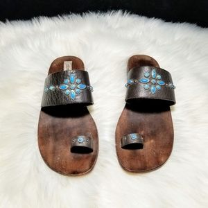 Steve Madden Leather Sandals Turquoise stones